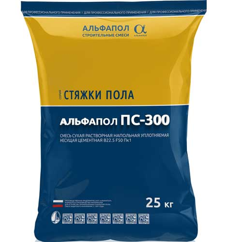 Полусухая стяжка пола АЛЬФАПОЛ ПС-300 в упаковке, 25 кг