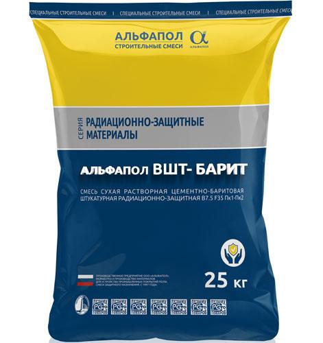 АЛЬФАПОЛ ВШТ-БАРИТ - цементно-баритовая штукатурка в упаковке 25 кг
