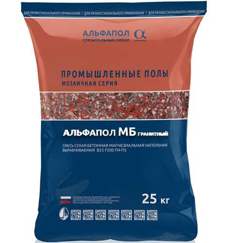 Мозаичный пол АЛЬФАПОЛ МБ гранитный в упаковке, 25 кг